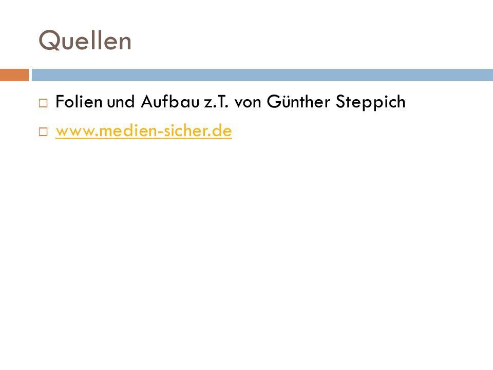 Quellen  Folien und Aufbau z.T. von Günther Steppich  www.medien-sicher.de www.medien-sicher.de