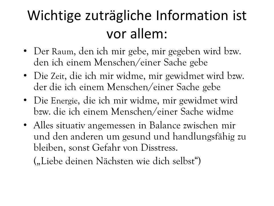 Wichtige zuträgliche Information ist vor allem: Der Raum, den ich mir gebe, mir gegeben wird bzw. den ich einem Menschen/einer Sache gebe Die Zeit, di
