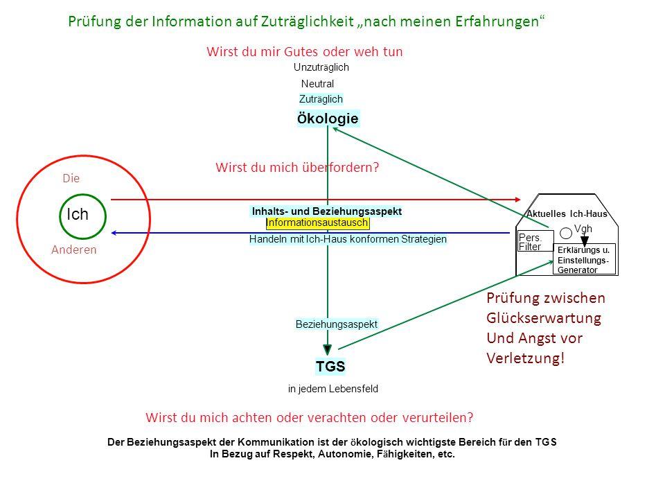 Ö kologie TGS in jedem Lebensfeld Vgh Erkl ä rungs u. Einstellungs- Generator Pers. Filter Informationsaustausch Inhalts- und Beziehungsaspekt Handeln