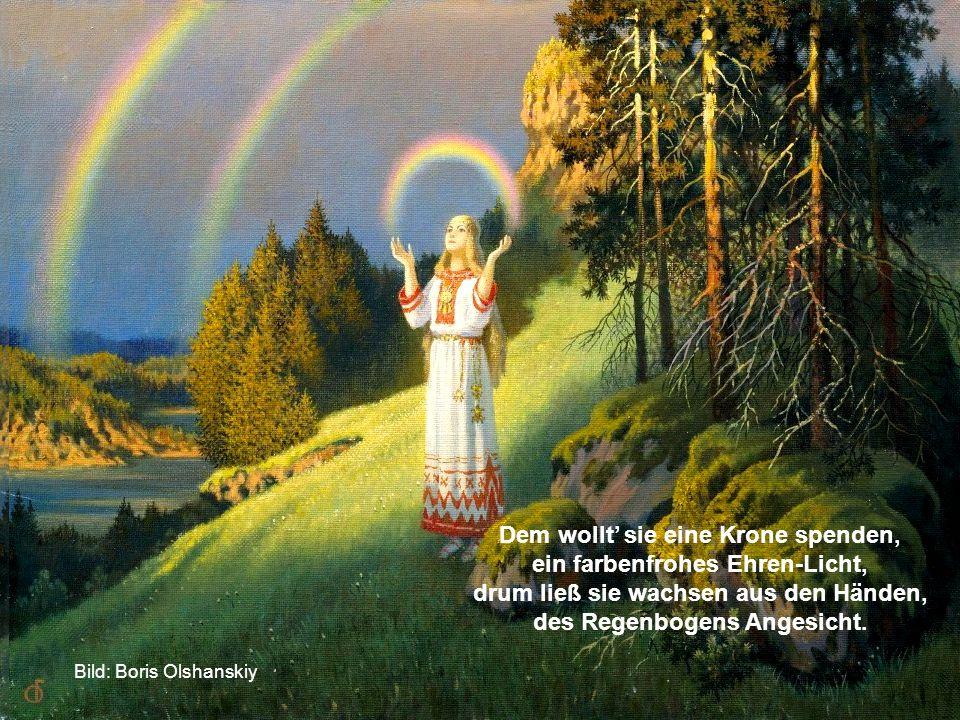 Die Große Mutter sah die Wonne, wie Eines sich in's Andre fügte, das Schöpfungswerk von Erd' und Sonne, im trauten Kreis sich selbst genügte.