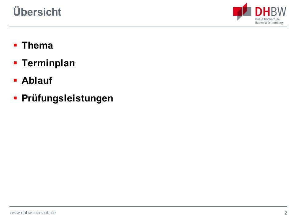www.dhbw-loerrach.de Übersicht  Thema  Terminplan  Ablauf  Prüfungsleistungen 2