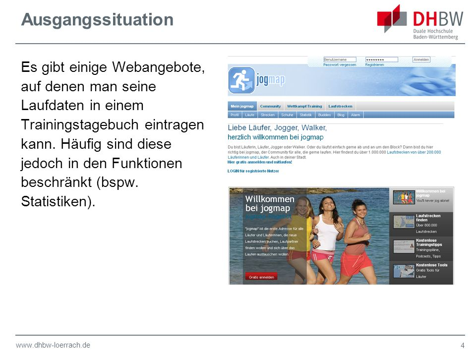 www.dhbw-loerrach.de Ausgangssituation Es gibt einige Webangebote, auf denen man seine Laufdaten in einem Trainingstagebuch eintragen kann.