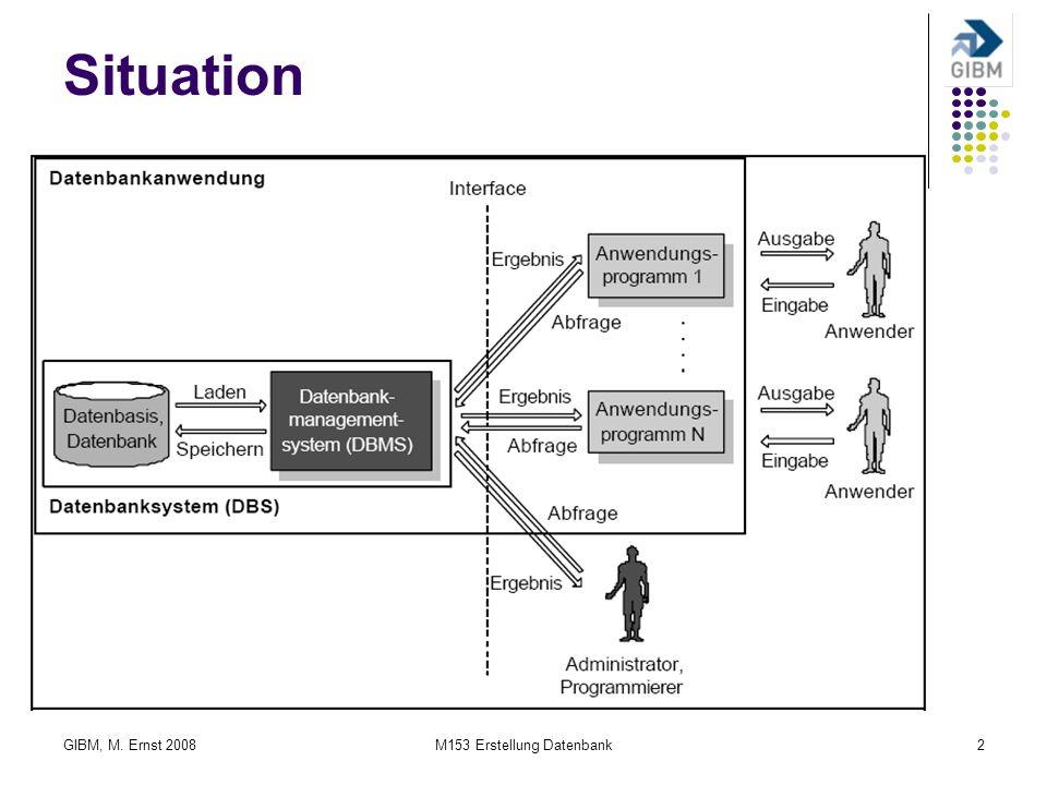 GIBM, M. Ernst 2008M153 Erstellung Datenbank2 Situation