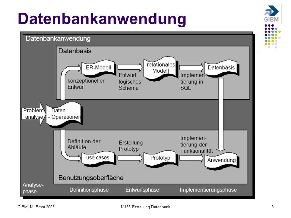 GIBM, M. Ernst 2008M153 Erstellung Datenbank3 Datenbankanwendung