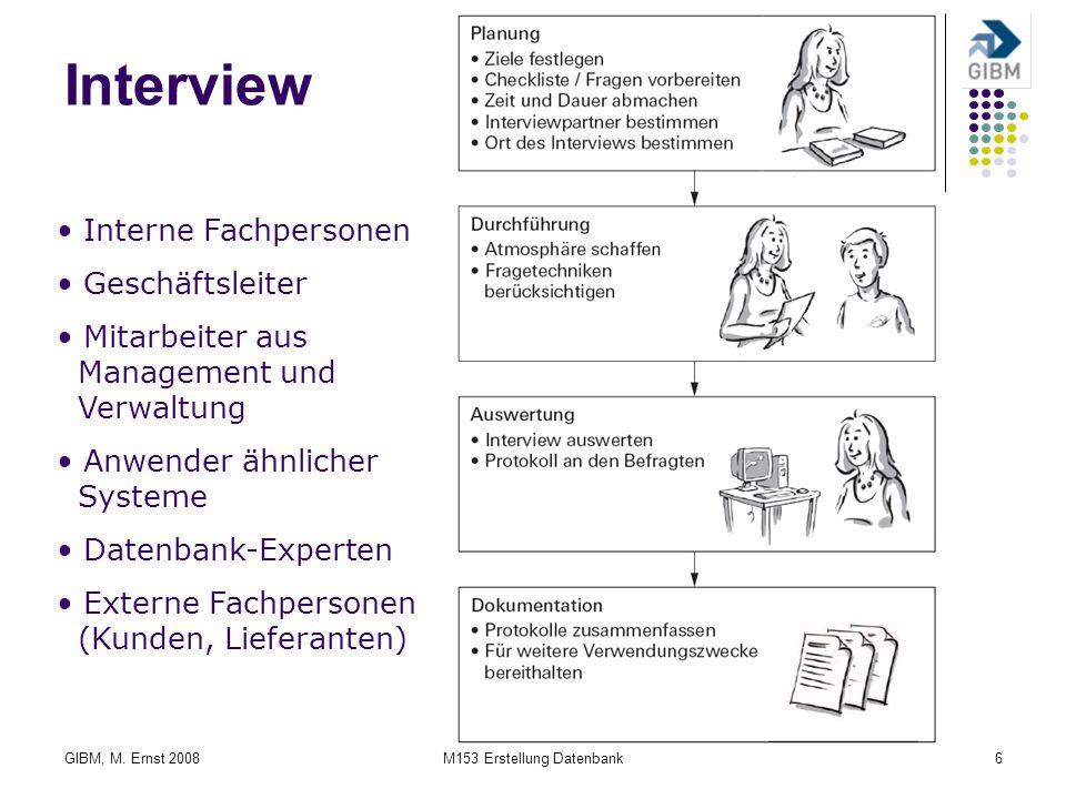 GIBM, M. Ernst 2008M153 Erstellung Datenbank6 Interview Interne Fachpersonen Geschäftsleiter Mitarbeiter aus Management und Verwaltung Anwender ähnlic