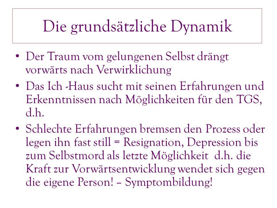 Die grundsätzliche Dynamik Der Traum vom gelungenen Selbst drängt vorwärts nach Verwirklichung Das Ich -Haus sucht mit seinen Erfahrungen und Erkenntnissen nach Möglichkeiten für den TGS, d.h.