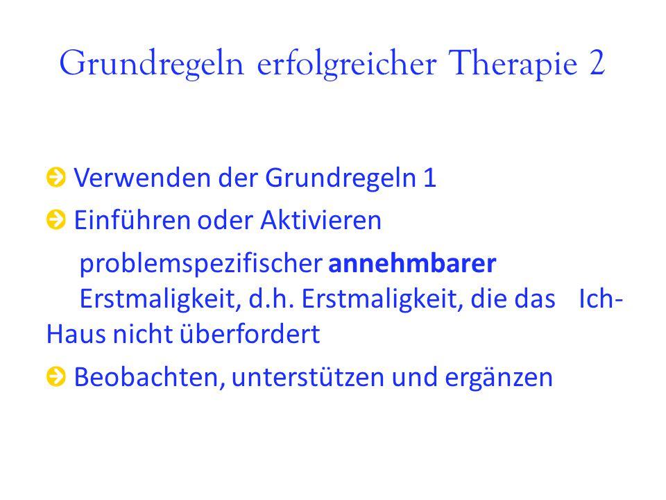Grundregeln erfolgreicher Therapie 2 Verwenden der Grundregeln 1 Einführen oder Aktivieren problemspezifischer annehmbarer Erstmaligkeit, d.h. Erstmal