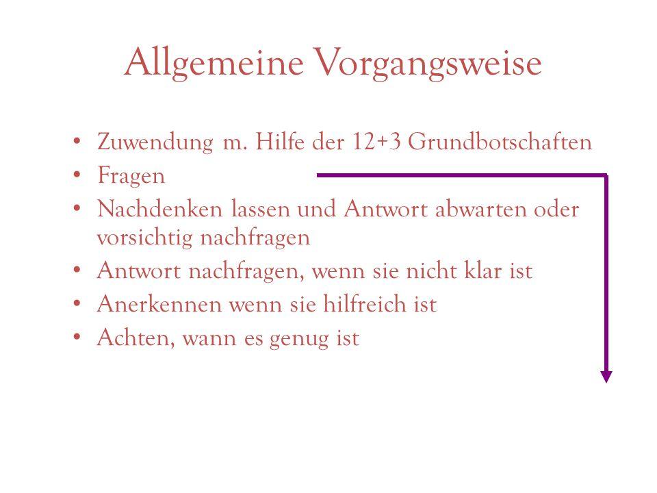 Allgemeine Vorgangsweise Zuwendung m.