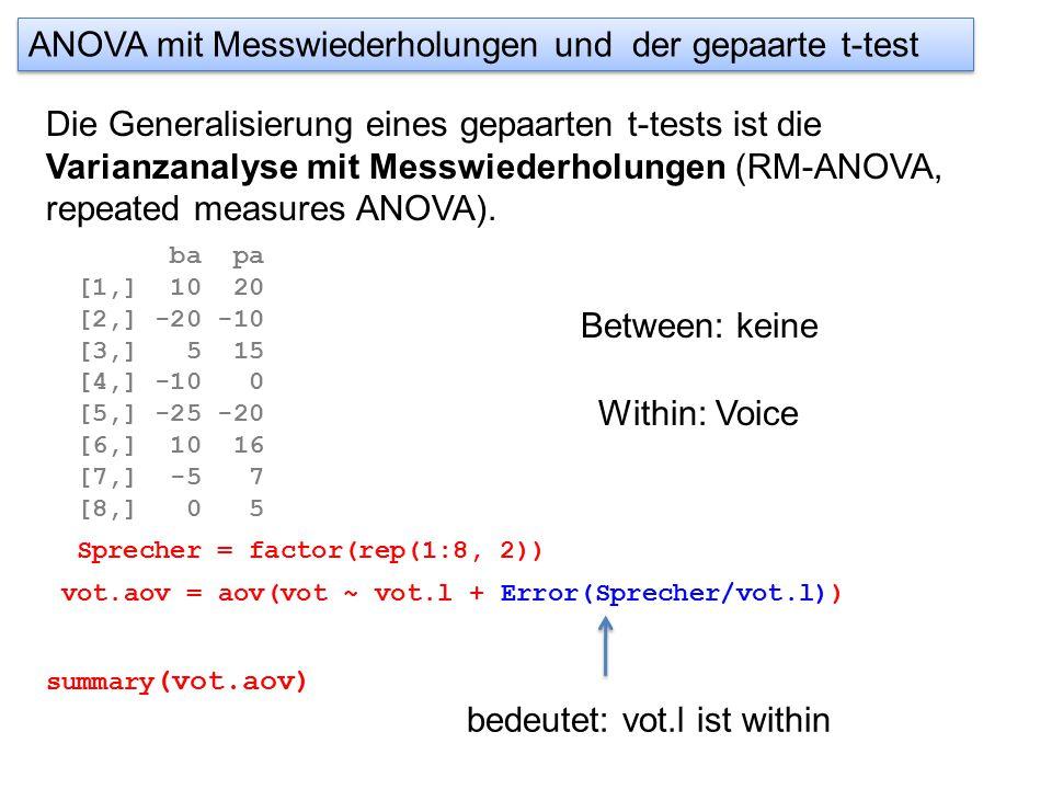 ANOVA mit Messwiederholungen und der gepaarte t-test Die Generalisierung eines gepaarten t-tests ist die Varianzanalyse mit Messwiederholungen (RM-ANOVA, repeated measures ANOVA).