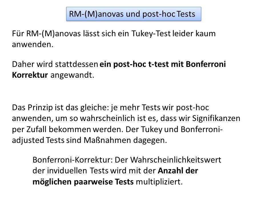 RM-(M)anovas und post-hoc Tests Für RM-(M)anovas lässt sich ein Tukey-Test leider kaum anwenden. Daher wird stattdessen ein post-hoc t-test mit Bonfer