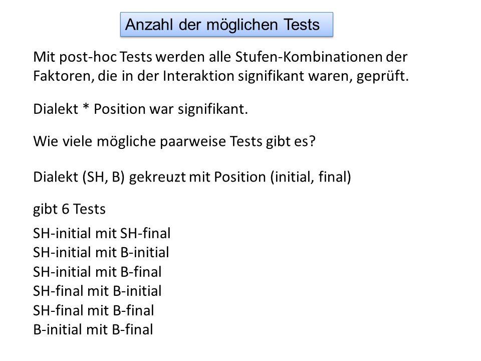 Mit post-hoc Tests werden alle Stufen-Kombinationen der Faktoren, die in der Interaktion signifikant waren, geprüft.