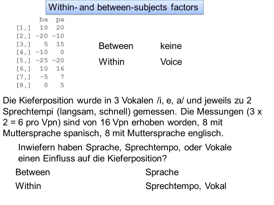 SH-initial mit SH-final SH-initial mit B-initial SH-initial mit B-final SH-final mit B-initial SH-final mit B-final B-initial mit B-final Bei einer Interaktion von 2 Faktoren interessieren uns jedoch nur einige Tests und zwar diejenigen, die sich auf diese Fragen beziehen.