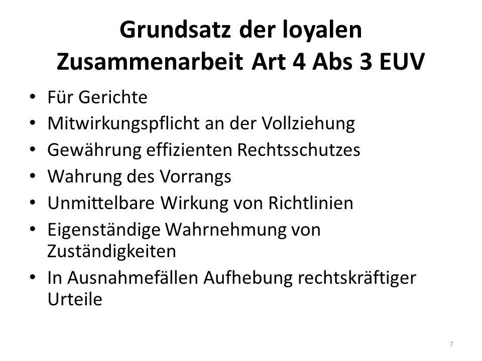 Grundsatz der loyalen Zusammenarbeit Art 4 Abs 3 EUV Für Gerichte Mitwirkungspflicht an der Vollziehung Gewährung effizienten Rechtsschutzes Wahrung d