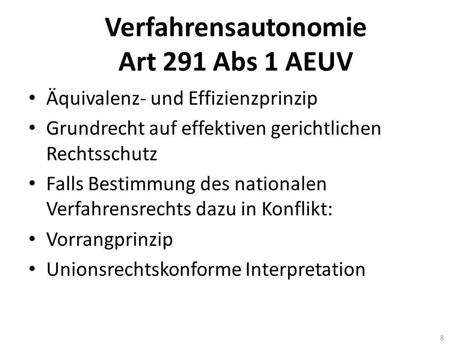 Verfahrensautonomie Art 291 Abs 1 AEUV Äquivalenz- und Effizienzprinzip Grundrecht auf effektiven gerichtlichen Rechtsschutz Falls Bestimmung des nati