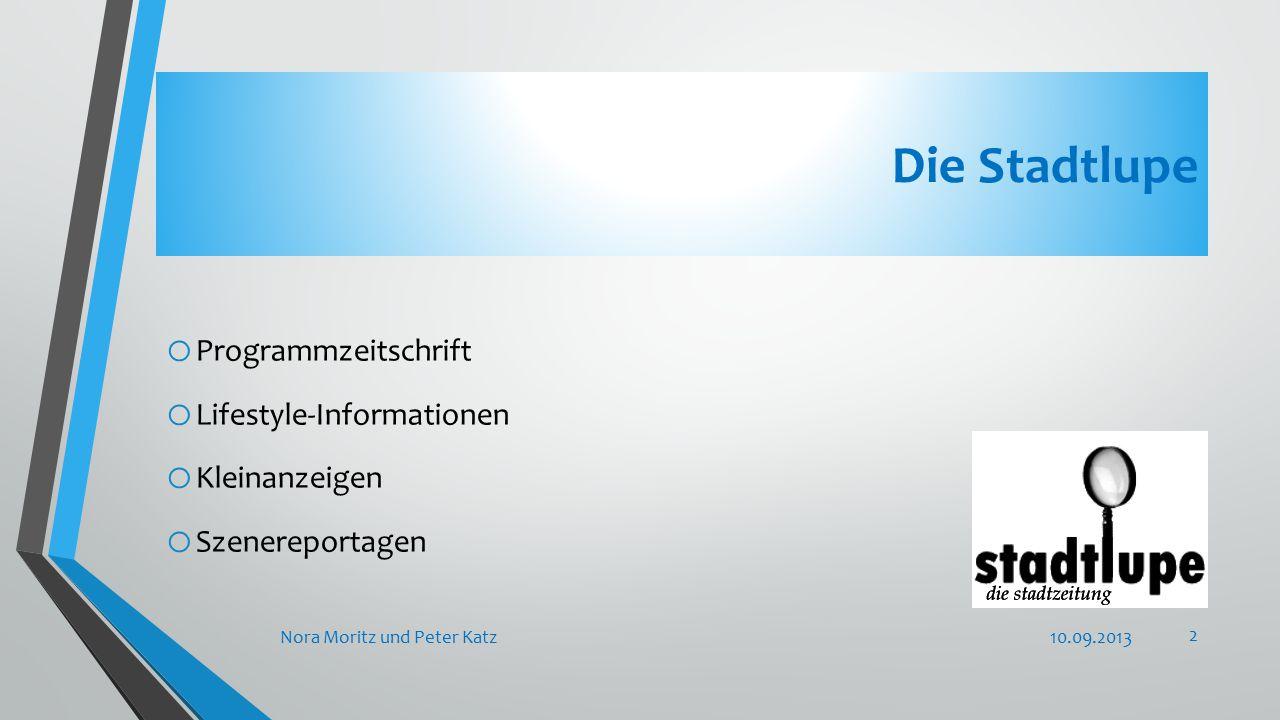 Die Stadtlupe o Programmzeitschrift o Lifestyle-Informationen o Kleinanzeigen o Szenereportagen 10.09.2013Nora Moritz und Peter Katz 2
