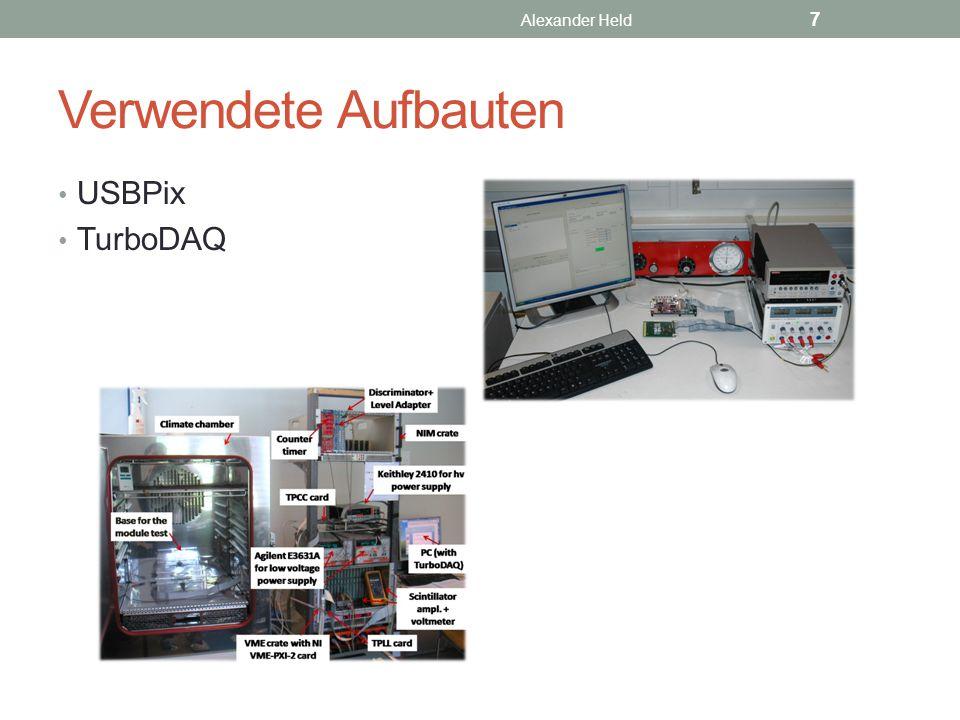 Kalibrierung Fabrikationsunterschiede, Noise, Pixel müssen einzeln kalibriert werden Kalibriert wird nicht der Detektor, sondern eigentlich die Frontendelektronik Verändert werden können: Threshold (GDac, TDac) TOT (IF, FDac), 1 MIB ≙ 30 TOT Software Alexander Held 8