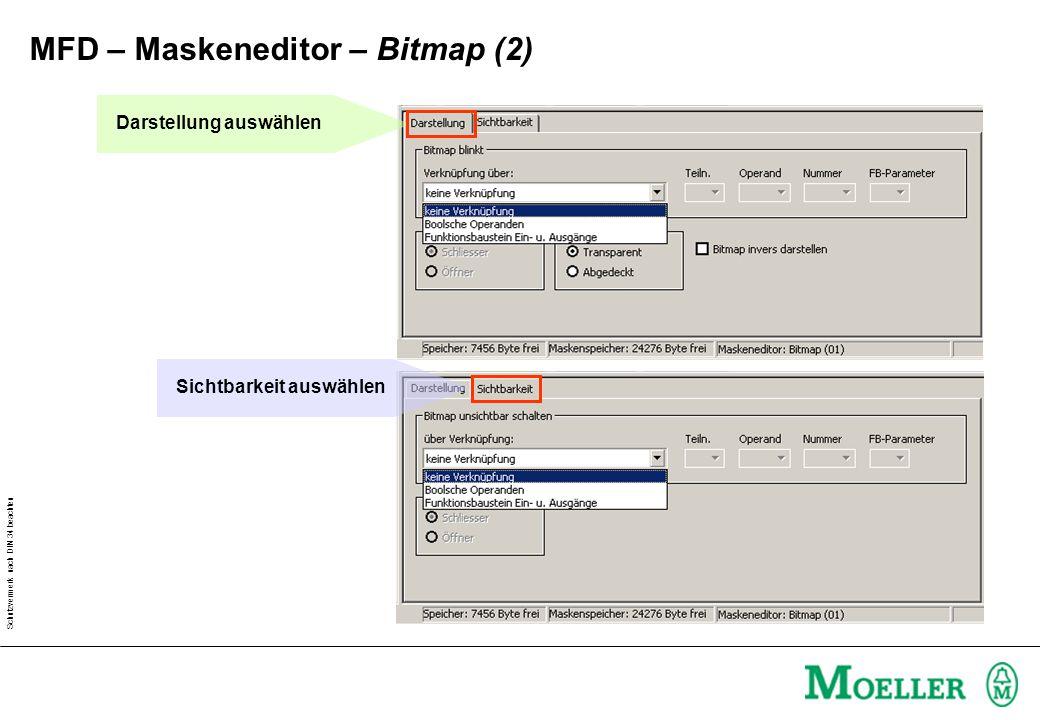 Schutzvermerk nach DIN 34 beachten Darstellung auswählen Sichtbarkeit auswählen MFD – Maskeneditor – Bitmap (2)