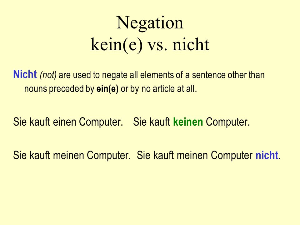 Negation kein(e) vs.