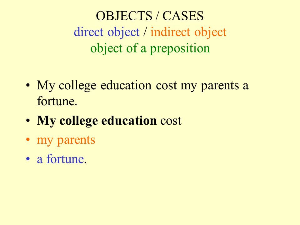 OBJECTS / CASES direct object / indirect object object of a preposition My college education cost my parents a fortune. My college education cost my p