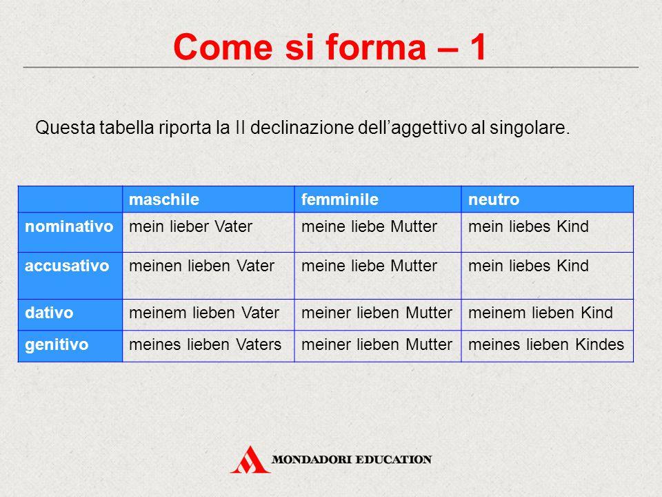 Come si forma – 1 Questa tabella riporta la II declinazione dell'aggettivo al singolare. maschilefemminileneutro nominativomein lieber Vatermeine lieb