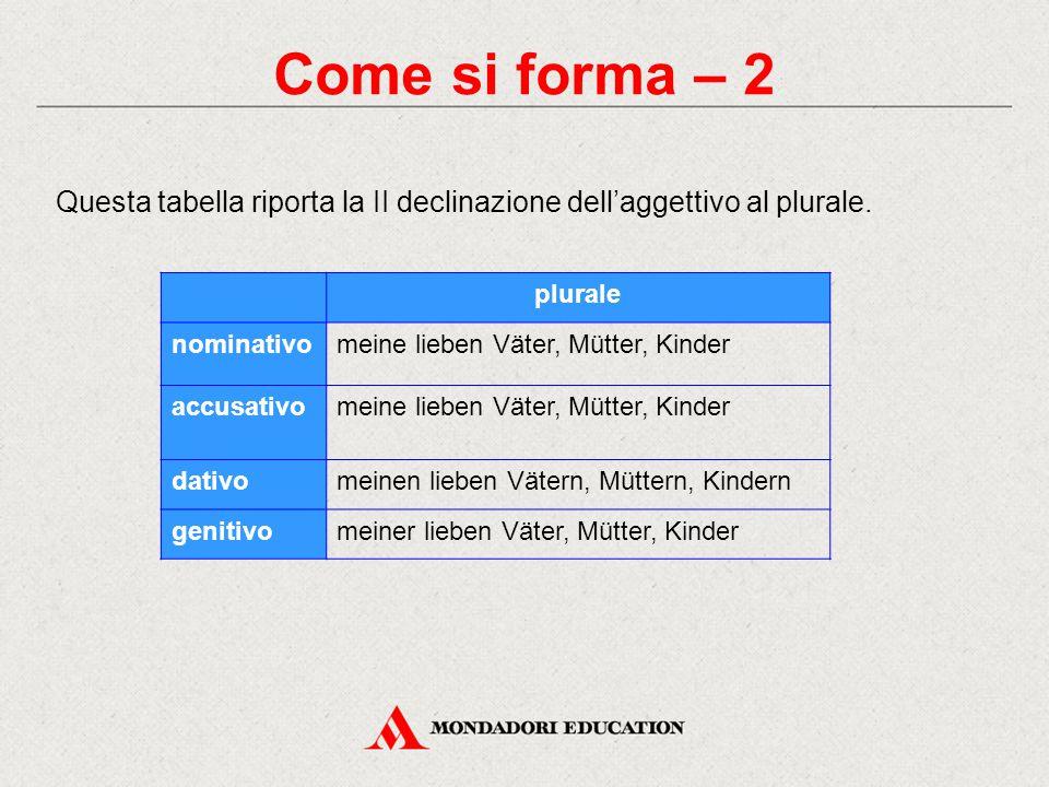 Come si forma – 2 Questa tabella riporta la II declinazione dell'aggettivo al plurale. plurale nominativomeine lieben Väter, Mütter, Kinder accusativo