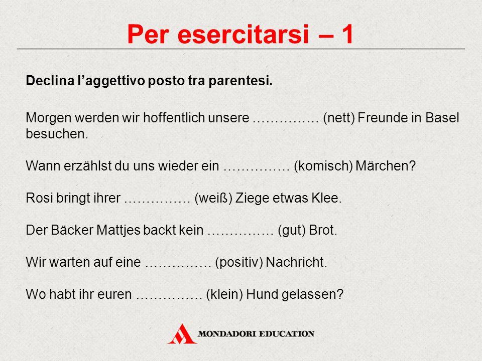 Per esercitarsi – 1 Declina l'aggettivo posto tra parentesi. Morgen werden wir hoffentlich unsere …………… (nett) Freunde in Basel besuchen. Wann erzähls