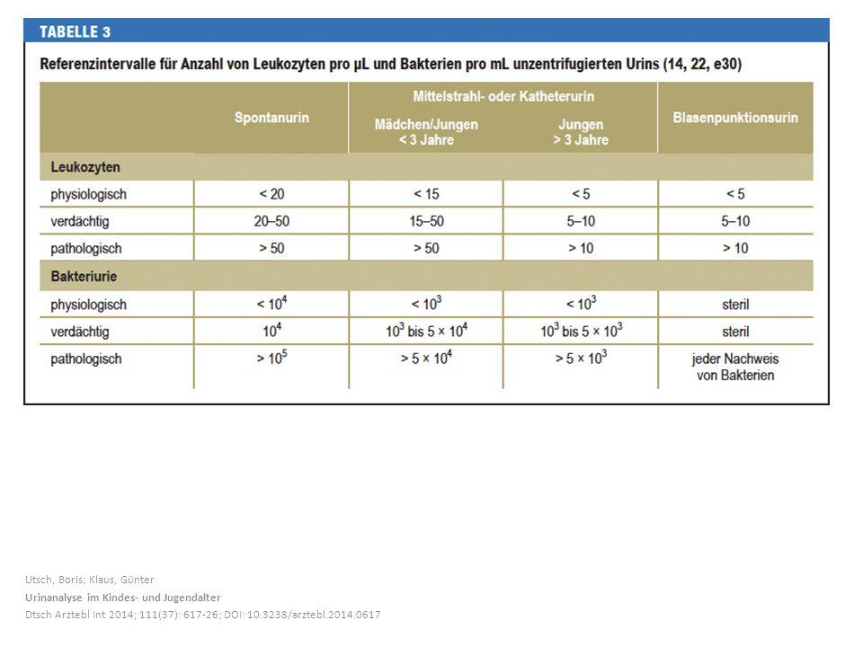 Utsch, Boris; Klaus, Günter Urinanalyse im Kindes- und Jugendalter Dtsch Arztebl Int 2014; 111(37): 617-26; DOI: 10.3238/arztebl.2014.0617