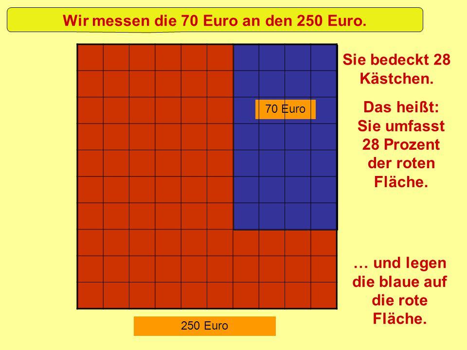 70 Euro 250 Euro … und legen die blaue auf die rote Fläche. Wir messen die 70 Euro an den 250 Euro. Sie bedeckt 28 Kästchen. Das heißt: Sie umfasst 28