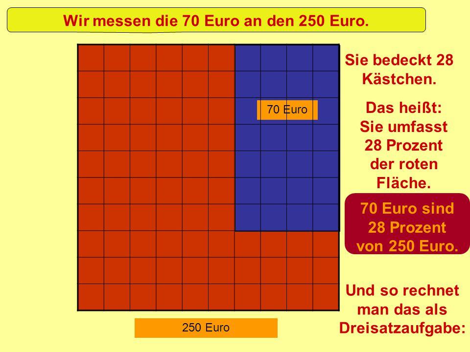 70 Euro 250 Euro Wir messen die 70 Euro an den 250 Euro. Sie bedeckt 28 Kästchen. Das heißt: Sie umfasst 28 Prozent der roten Fläche. 70 Euro sind 28
