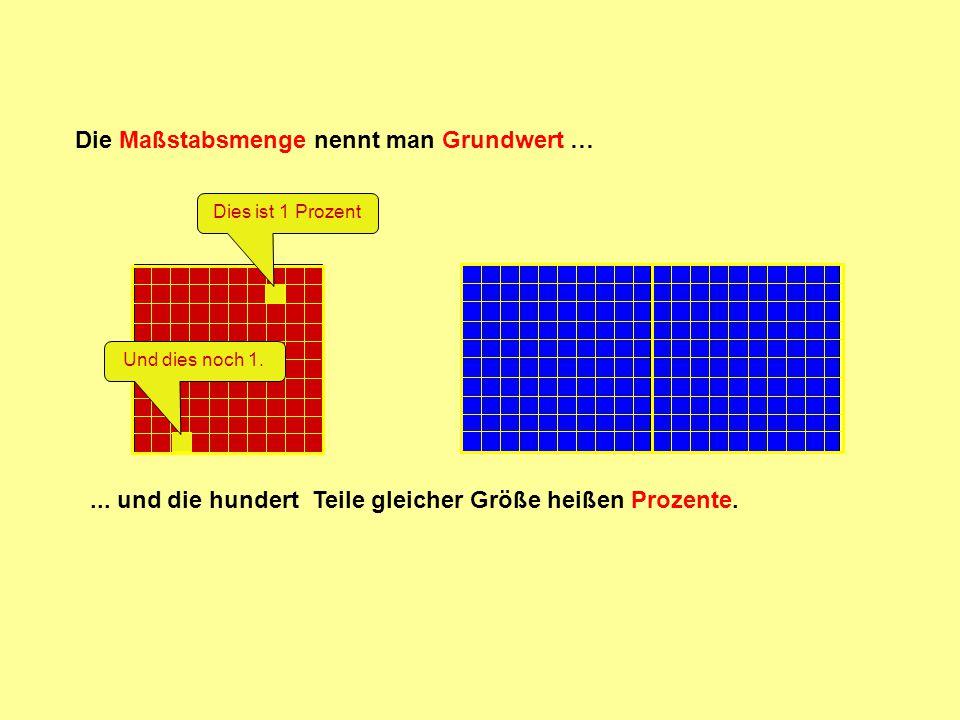Die Maßstabsmenge nennt man Grundwert …... und die hundert Teile gleicher Größe heißen Prozente. Dies ist 1 ProzentUnd dies noch 1.