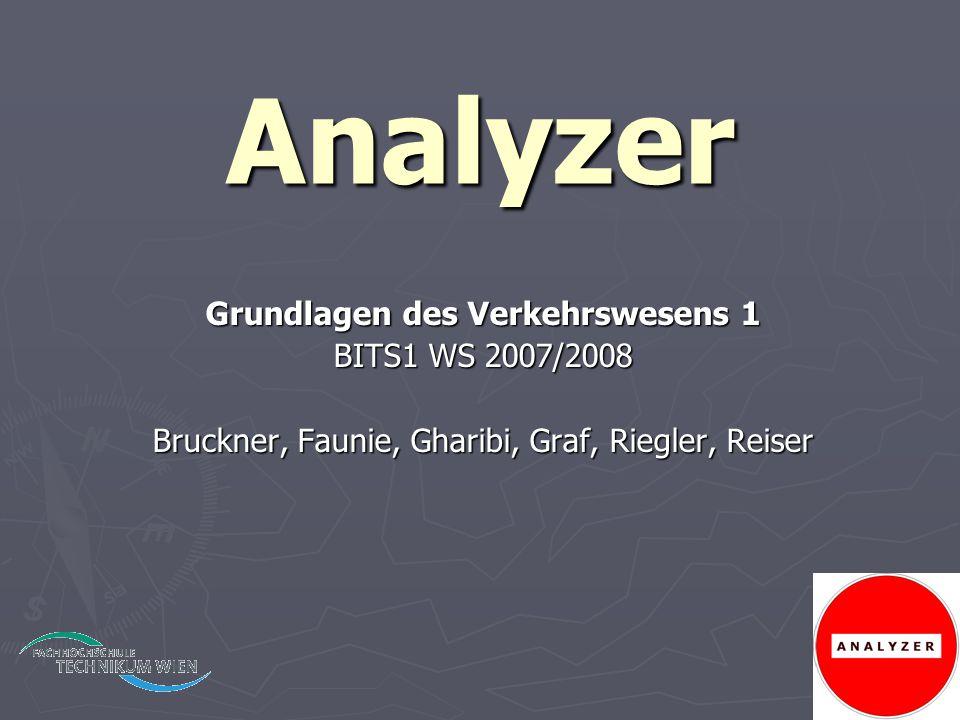 Analyzer Grundlagen des Verkehrswesens 1 BITS1 WS 2007/2008 Bruckner, Faunie, Gharibi, Graf, Riegler, Reiser