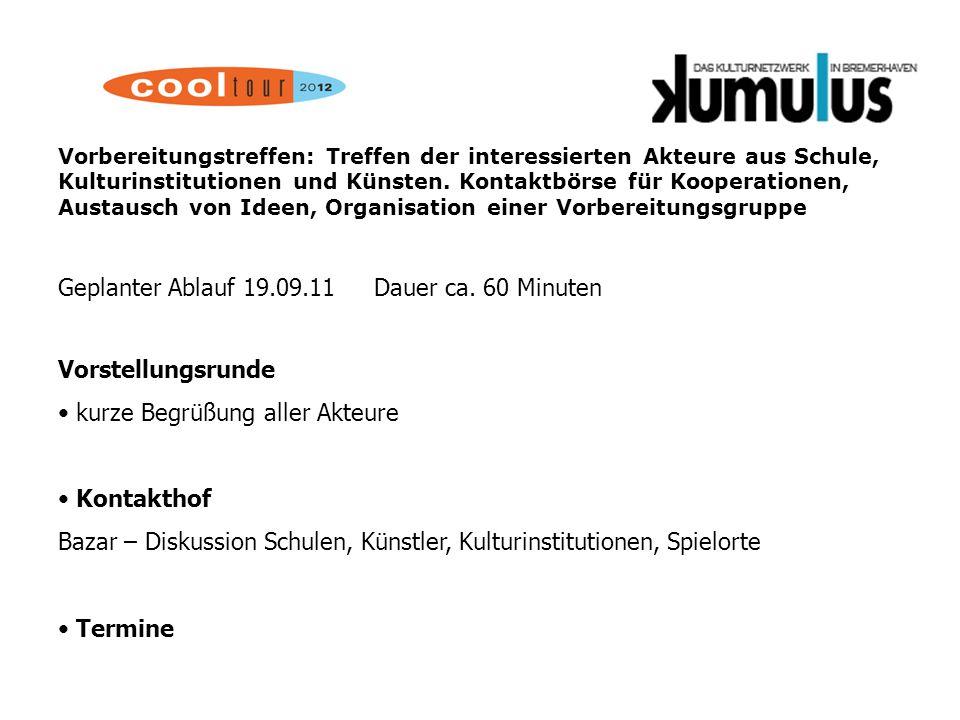 Vorbereitungstreffen: 20.02.2012 Vorstellung von ersten Kooperationen, geplanten Spielorten.