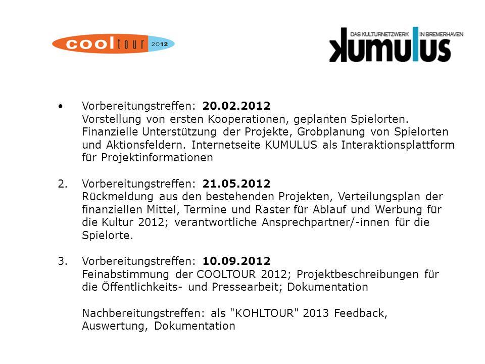 Vorbereitungstreffen: 20.02.2012 Vorstellung von ersten Kooperationen, geplanten Spielorten. Finanzielle Unterstützung der Projekte, Grobplanung von S