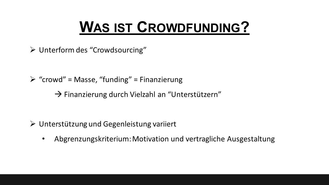 """W AS IST C ROWDFUNDING ?  Unterform des """"Crowdsourcing""""  """"crowd"""" = Masse, """"funding"""" = Finanzierung  Finanzierung durch Vielzahl an """"Unterstützern"""""""