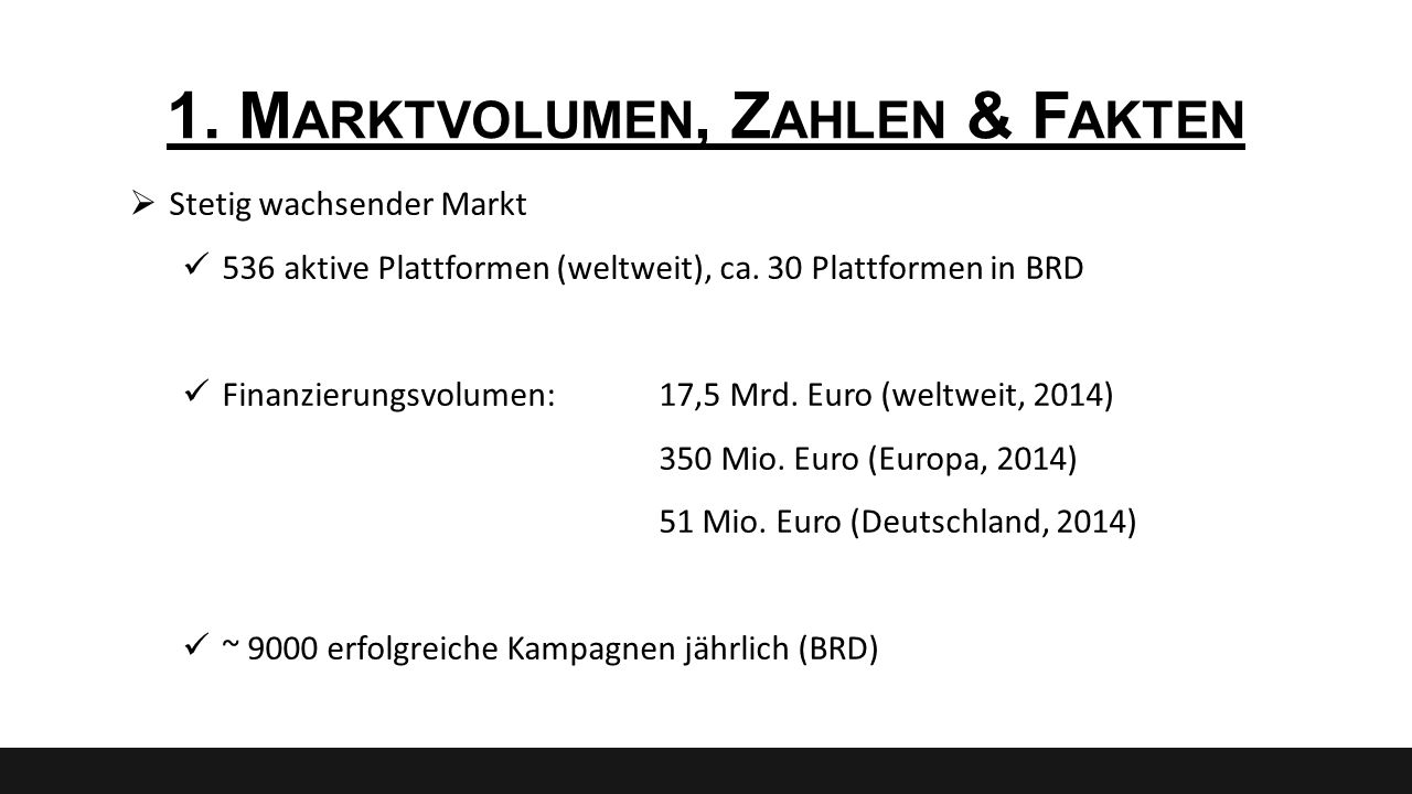 1. M ARKTVOLUMEN, Z AHLEN & F AKTEN  Stetig wachsender Markt 536 aktive Plattformen (weltweit), ca. 30 Plattformen in BRD Finanzierungsvolumen:17,5 M