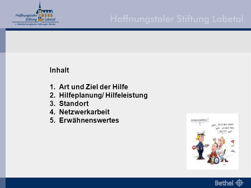 Inhalt 1.Art und Ziel der Hilfe 2.Hilfeplanung/ Hilfeleistung 3.Standort 4.Netzwerkarbeit 5.Erwähnenswertes