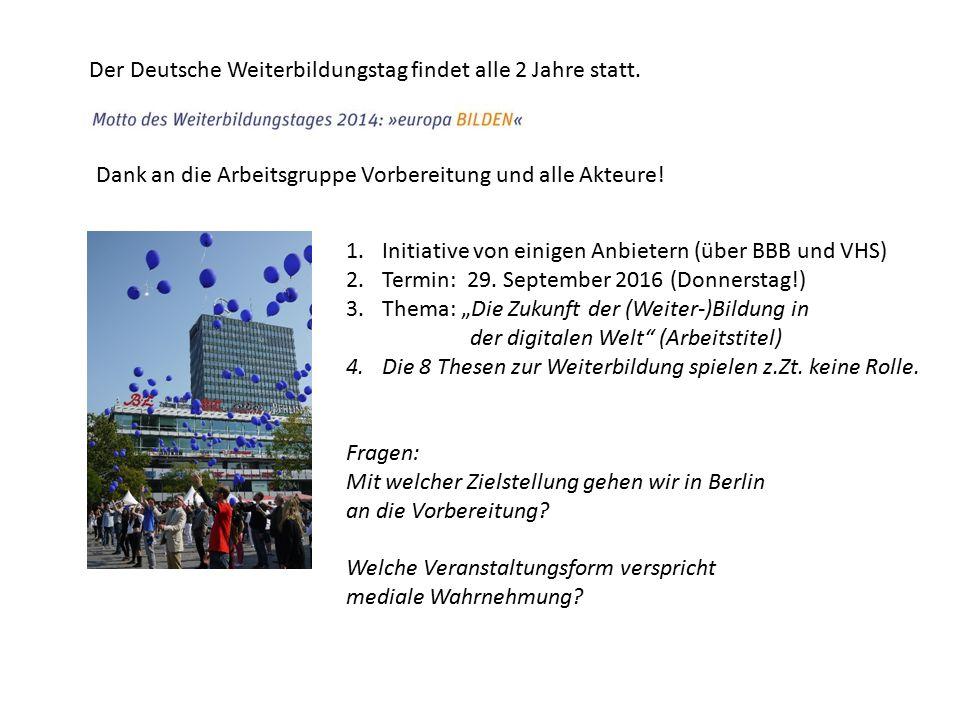 Im Rahmen des Projektauftrages 2015 hat die WDB den Auftrag, Aktion(en) für Berlin zu koordinieren bzw.