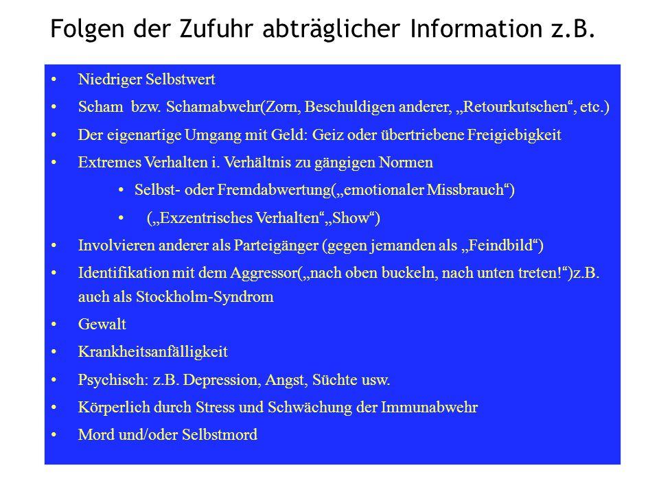 """Folgen der Zufuhr abträglicher Information z.B. Niedriger Selbstwert Scham bzw. Schamabwehr(Zorn, Beschuldigen anderer, """"Retourkutschen"""", etc.) Der ei"""