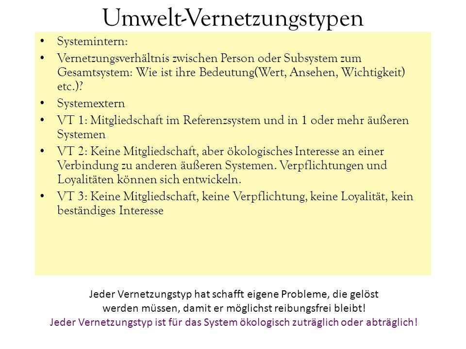 Umwelt-Vernetzungstypen Systemintern: Vernetzungsverhältnis zwischen Person oder Subsystem zum Gesamtsystem: Wie ist ihre Bedeutung(Wert, Ansehen, Wic