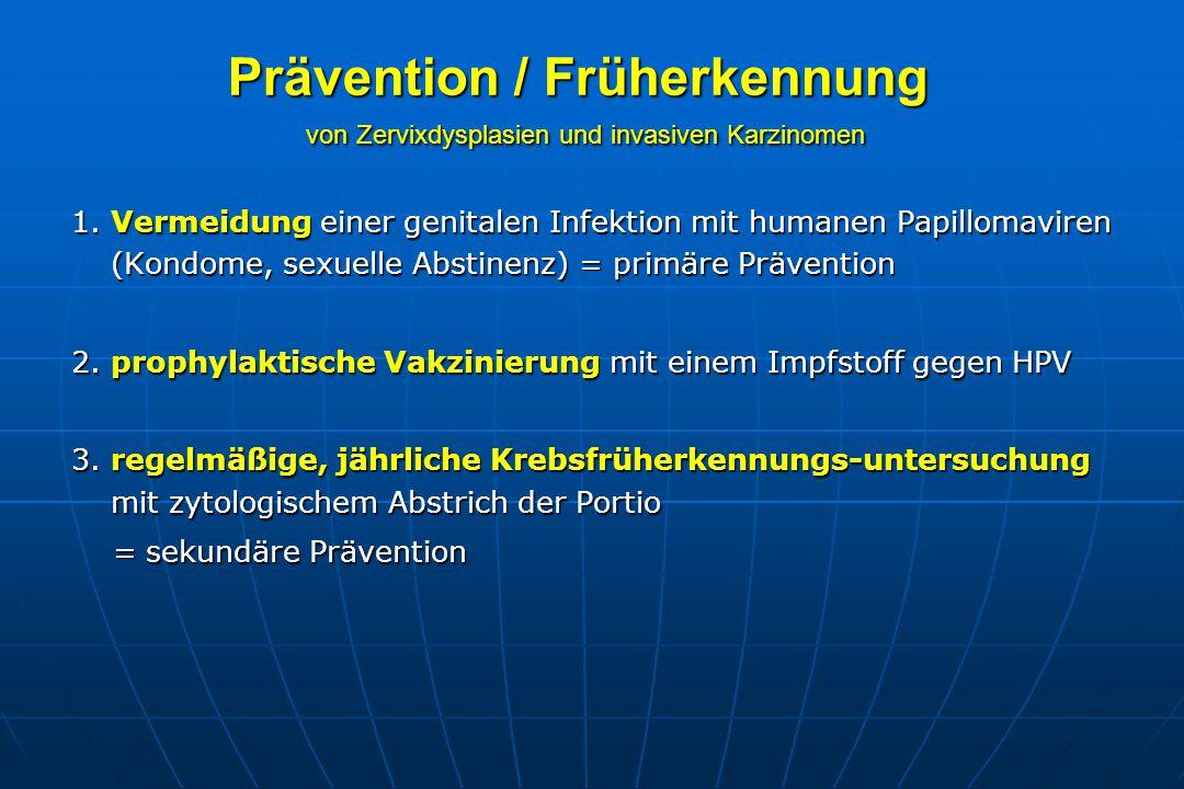 Prävention / Früherkennung von Zervixdysplasien und invasiven Karzinomen 1.
