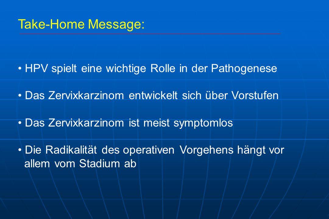Take-Home Message: HPV spielt eine wichtige Rolle in der Pathogenese Das Zervixkarzinom entwickelt sich über Vorstufen Das Zervixkarzinom ist meist symptomlos Die Radikalität des operativen Vorgehens hängt vor allem vom Stadium ab