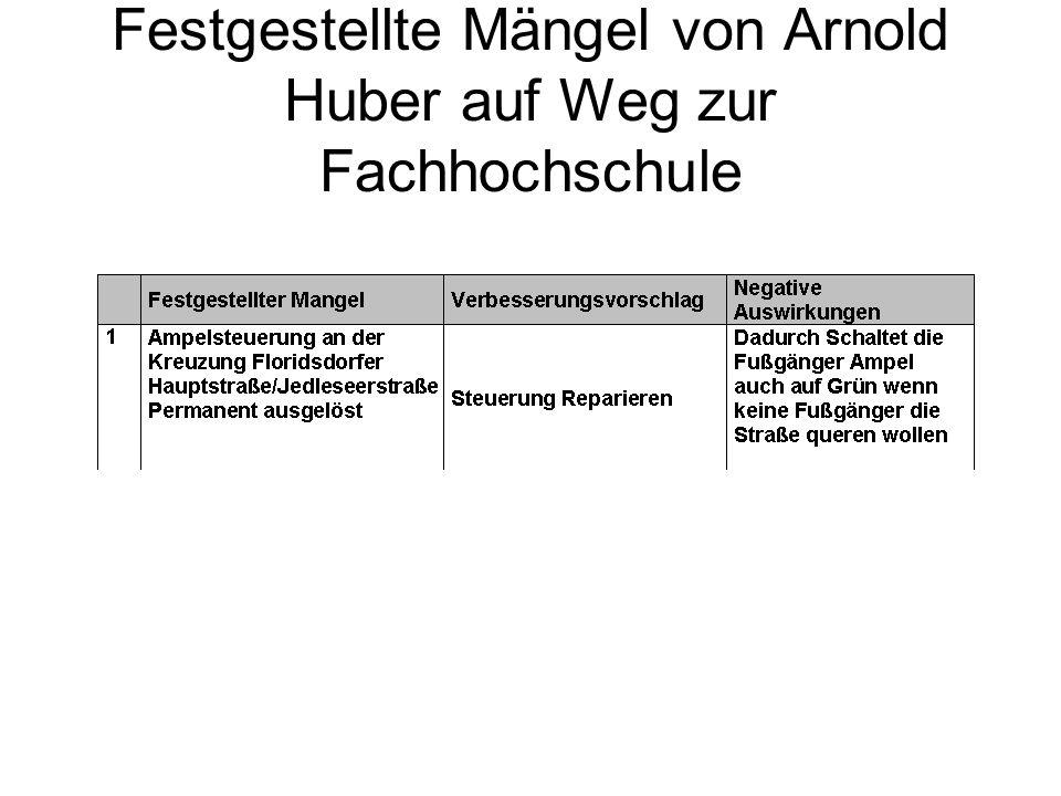 Festgestellte Mängel von Daniel Dötzl auf Weg zur Fachhochschule