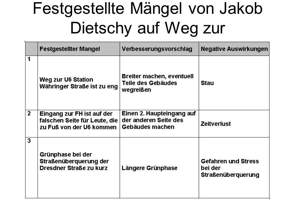Festgestellte Mängel von Jakob Dietschy auf Weg zur Fachhochschule