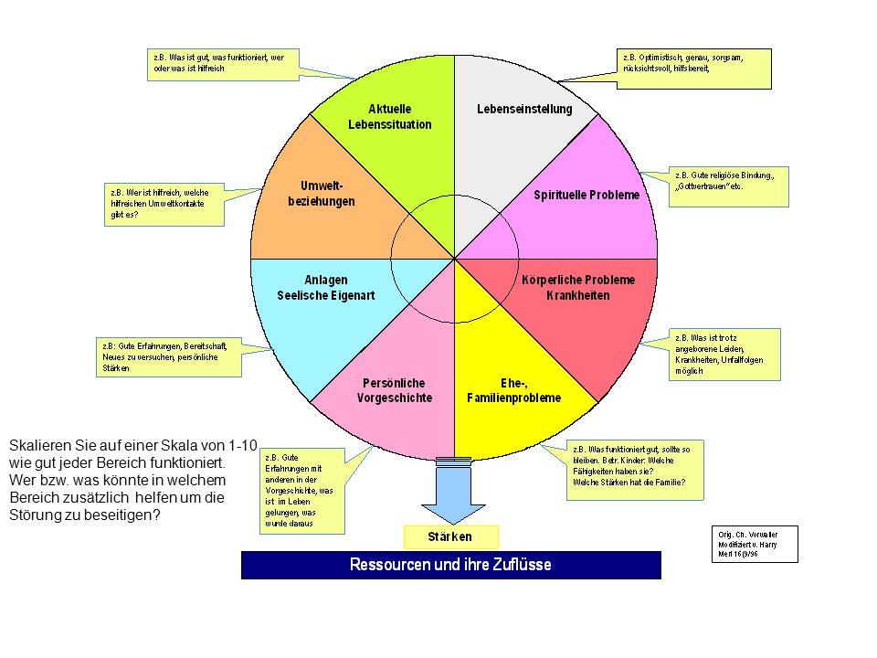 Skalieren Sie auf einer Skala von 1-10 wie gut jeder Bereich funktioniert. Wer bzw. was könnte in welchem Bereich zusätzlich helfen um die Störung zu
