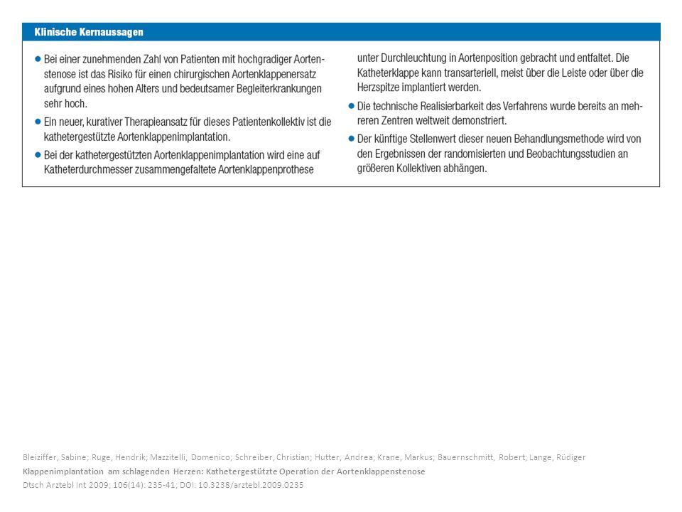 Bleiziffer, Sabine; Ruge, Hendrik; Mazzitelli, Domenico; Schreiber, Christian; Hutter, Andrea; Krane, Markus; Bauernschmitt, Robert; Lange, Rüdiger Kl