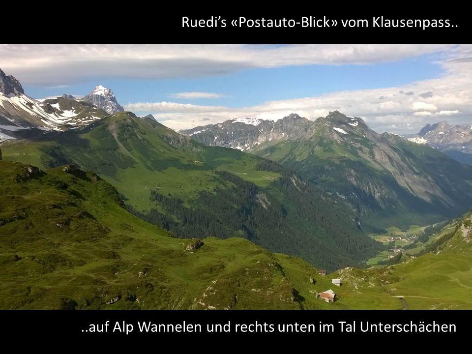 Ruedi's «Postauto-Blick» vom Klausenpass....auf Alp Wannelen und rechts unten im Tal Unterschächen