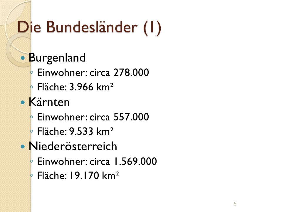 Die Bundesländer (1) Burgenland ◦ Einwohner: circa 278.000 ◦ Fläche: 3.966 km² Kärnten ◦ Einwohner: circa 557.000 ◦ Fläche: 9.533 km² Niederösterreich