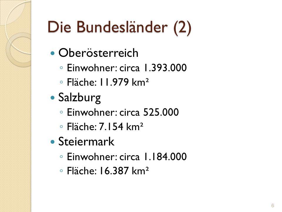 Die Bundesländer (2) Oberösterreich ◦ Einwohner: circa 1.393.000 ◦ Fläche: 11.979 km² Salzburg ◦ Einwohner: circa 525.000 ◦ Fläche: 7.154 km² Steierma