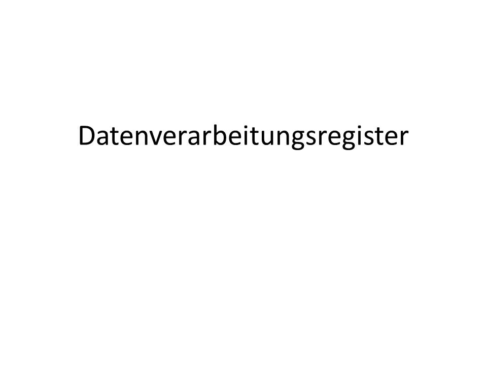 Datenverarbeitungsregister