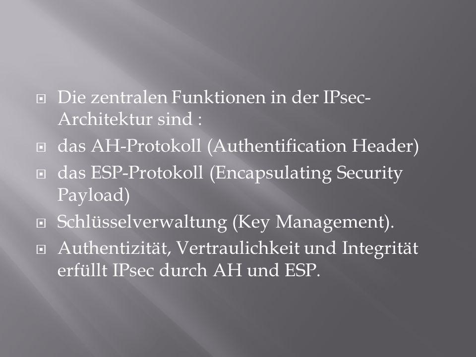  Die zentralen Funktionen in der IPsec- Architektur sind :  das AH-Protokoll (Authentification Header)  das ESP-Protokoll (Encapsulating Security P